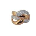 Позолоченное серебро кольцо, фианиты. Ювелирная компания