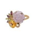 Кольцо золото коралл, хризолит, цетрин, аметист, фианиты. Ювелирная компания