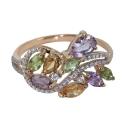Кольцо золото  хризолит, цетрин, аметист, фианиты. Ювелирная компания