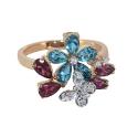 Кольцо золото голубой топаз, аметист, фианиты. Ювелирная компания