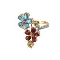 Кольцо белое золото, голубой топаз, гранат, хризолит, фианиты. Ювелирная компания