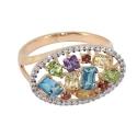 Кольцо белое золото, голубой топаз, гранат, цетрин, хризолит, фианиты. Ювелирная компания