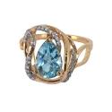 Кольцо золото голубой топаз,  фианиты. Ювелирная компания