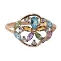 Кольцо  золото, голубой топаз, аметист, цетрин, хризолит, фианиты. Ювелирная компания
