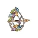 Кольцо  золото, аметист,  цетрин, хризолит, фианиты. Ювелирная компания