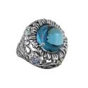 Перстень, серебро, голубой топаз, фианиты. Ювелирная компания