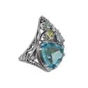 Кольцо, серебро, голубой топаз, хризолит, фианиты. Ювелирная компания
