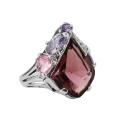 Кольцо, серебро, родолит, аметист, розовый кварц, фианиты. Ювелирная компания