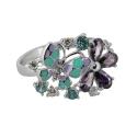 Кольцо, серебро, аметист, голубой топаз, фианиты, эмаль. Ювелирная компания