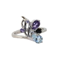 Кольцо, серебро,  аметист, голубой топаз, раух топаз, фианиты. Ювелирная компания