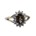 Кольцо, серебро,  дымчатый топаз, фианиты. Ювелирная компания