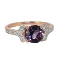 Кольцо, позолоченное  серебро, аметист,  фианиты.  Ювелирная компания