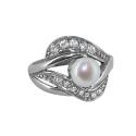 Кольцо серебро, жемчуг, фианиты. Ювелирная компания