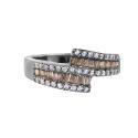 Кольцо серебро,  горный хрусталь, фианиты. Ювелирная компания