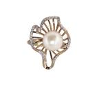 Кольцо  золото, жемчуг, фианиты.  Ювелирная компания