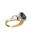 Кольцо  золото, голубой топаз, эмаль, фианиты.  Ювелирная компания