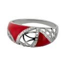 Кольцо  серебро, эмаль, фианиты.  Ювелирная компания