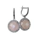 Серьги  серебро, розовый кварц.  Ювелирная компания