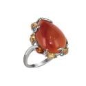 Кольцо  серебро, сердолик, цитрин.  Ювелирная компания