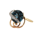 Кольцо  золото, голубой лондон топаз, фианиты.  Ювелирная компания