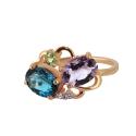 Кольцо  золото, голубой топаз, аметист, хризолит, фианиты.  Ювелирная компания