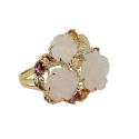 """Кольцо, золото, бриллианты, сапфиры, розовый кварц. Ювелирная компания """"МАБЭ""""."""