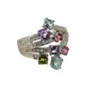 """Кольцо, белое золото, бриллианты, голубой топаз, аметист, хризолит, розовый сапфир. Ювелирная компания """"МАБЭ""""."""