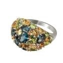 Кольцо  серебро, голубой топаз, цетрин, хризолит.  Ювелирная компания