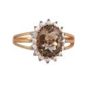 Кольцо, золото, дымчатый топаз фианиты.  Ювелирная компания