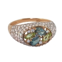 Кольцо  золото, голубой топаз, хризолит,  фианиты.  Ювелирная компания