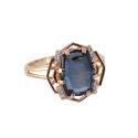 Кольцо, золото, нана-сапфир, фианиты. Ювелирная компания