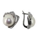 Серьги  серебро, жемчуг, фианит.  Ювелирная компания