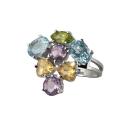 Кольцо  серебро, аметист, голубой топаз, цетрин, хризолит.  Ювелирная компания