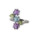 Кольцо  серебро, аметист, голубой топаз, хризолит.  Ювелирная компания