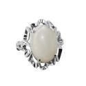 Кольцо  серебро, белый кварц.  Ювелирная компания