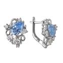 Серьги  серебро, голубой топаз, фианиты.  Ювелирная компания