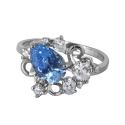 Кольцо  серебро, голубой топаз, фианиты.  Ювелирная компания