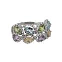 Кольцо  серебро, голубой топаз, аметист, хризолит, цетрин, фианиты.  Ювелирная компания
