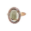 Кольцо  серебро, зеленый аметист, фианиты.  Ювелирная компания