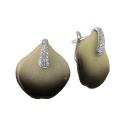 Серьги  серебро, лепистки Архидей в эмали, фианиты.  Ювелирная компания