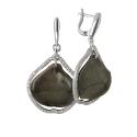 Серьги  серебро, лепистки Архидей в прозрачной эмали, фианиты.  Ювелирная компания