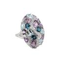 Кольцо  серебро, аметист, лондон топаз,  голубой топаз, фианиты.  Ювелирная компания