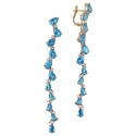 Серьги  золото,  голубой топаз,  фианиты.  Ювелирная компания