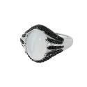 Кольцо  серебро,  лунный камень, черные фианиты.  Ювелирная компания