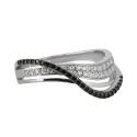 Кольцо  серебро,  черные и белые  фианиты.  Ювелирная компания