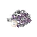 Кольцо  серебро, аметист, жемчуг, фианиты.  Ювелирная компания