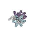 Кольцо  серебро,  аметист, голубой тогпаз.  Ювелирная компания