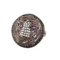 Кольцо  серебро,  белые, черные и цверные фианиты.  Ювелирная компания
