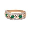 Кольцо,  золото, зеленый халцедон, фианиты.  Ювелирная компания