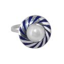 Кольцо, серебро, жемчуг, эмаль. Ювелирная компания
